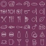 Voedsel en menupictogrammen, geschetste stijl stock fotografie