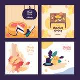 Voedsel en Ornament de Achtergrond van de Thanksgiving dayillustratie royalty-vrije illustratie