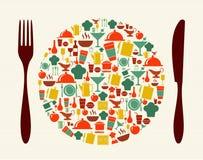 Voedsel en restaurantconceptenillustratie Stock Afbeeldingen