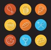 Voedsel en van de dranken vlak lineaire lange schaduw geplaatste pictogrammen Stock Foto's