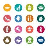 Voedsel en van de Drankenkleur Pictogrammen Stock Foto