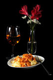 Voedsel en wijn stock afbeeldingen