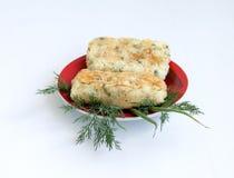 Voedsel Gebraden aardappelbroodjes met groenten royalty-vrije stock foto