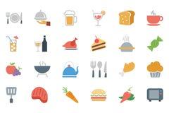 Voedsel Gekleurde Vectorpictogrammen 1 Stock Fotografie
