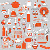 Voedsel, Groente en Keukengereikrabbelreeks Patroon Stock Foto's