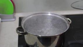 Voedsel het koken maaltijdvoorbereiding bij keuken Pan met kokend water stock video