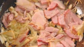 Voedsel het koken pijlinktvis van de het baconui van de ingredi?nten de panham stock footage
