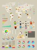 Voedsel Infographic die met kleurrijke grafieken wordt geplaatst Stock Foto's