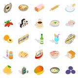Voedsel met geplaatste vitaminepictogrammen, isometrische stijl Stock Foto