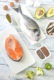 Voedsel met omega-3 vetten stock foto's