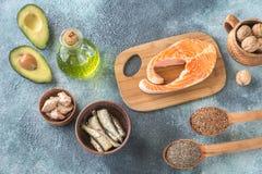 Voedsel met omega-3 vetten royalty-vrije stock fotografie