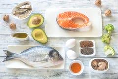 Voedsel met omega-3 vetten stock foto