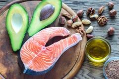 Voedsel met omega-3 vetten royalty-vrije stock afbeeldingen