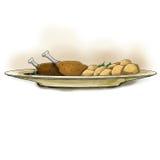 Voedsel op de plaat, het kippenbeen en de aardappels Royalty-vrije Stock Afbeeldingen