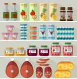 Voedsel op de planken van de opslag Royalty-vrije Stock Afbeeldingen