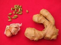 Voedsel op een rood tafelkleed Stock Foto's