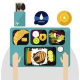 Voedsel op Vlucht, diner op vliegtuigvector Royalty-vrije Stock Afbeeldingen