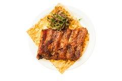 Voedsel op witte achtergrond wordt geïsoleerd die Royalty-vrije Stock Fotografie