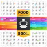 Voedsel Thematische Inzameling van Lijnpictogrammen Stock Fotografie