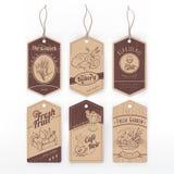 Voedsel uitstekende etiketten met streep Royalty-vrije Stock Afbeeldingen