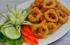 Voedsel van de Filippijnen, Calamares (Pijlinktvisringen) Stock Afbeeldingen