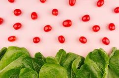 Voedsel van de pret het moderne lente - van kersentomaten en bladeren spinazie op zachte zachte roze achtergrond Stock Afbeeldingen