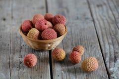 Voedsel van het litchi het zoete tropische Aziatische, Chinese fruit Royalty-vrije Stock Foto