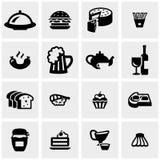 Voedsel vectordiepictogrammen op grijs worden geplaatst Royalty-vrije Stock Foto's