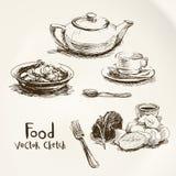 Voedsel vectorschets Royalty-vrije Stock Foto