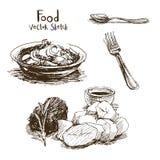 Voedsel vectorschets Stock Foto
