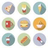 Voedsel Vlakke Vectorpictogrammen Royalty-vrije Stock Afbeelding