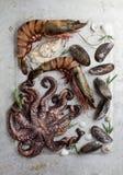 Voedselachtergrond met zeevruchten stock fotografie