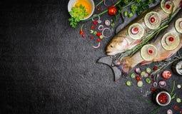 Voedselachtergrond voor visschotels die met diverse ingrediënten koken Ruw klusje met olie, kruiden en kruiden op scherpe raad, h Stock Foto