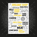 Voedselaffiche die organisch vers marktlandbouwbedrijf trekken Schetshand getrokken vector royalty-vrije illustratie