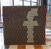 Voedselbeeldhouwwerk bij de 21ste Jaarlijkse concurrentie van NYC Canstruction in New York wordt voorgesteld dat Stock Afbeeldingen