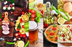 Voedselcollage van beelden Stock Foto's