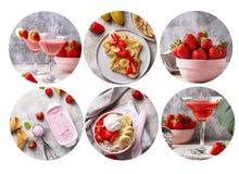 Voedselcollage Verschillende schotels met aardbei royalty-vrije stock foto's