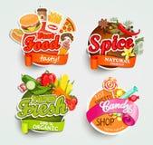 Voedselelementen, ontwerpetiket of sticker Royalty-vrije Stock Fotografie