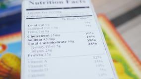 Voedseletiket met Ingrediënten op Doos stock footage