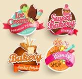 Voedseletiketten en Stickers Stock Foto's