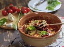 Voedselfoto met gebakken aubergineaubergine Royalty-vrije Stock Afbeelding