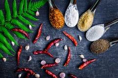 Voedselingrediënten en specerij bovenop de lijst royalty-vrije stock afbeeldingen