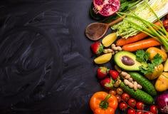 Voedselkader met groenten en vruchten Stock Foto