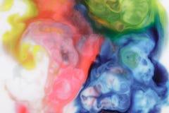 Voedselkleur op melk abstracte achtergrond, marmer als Stock Foto