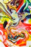 Voedselkleur op melk abstracte achtergrond, marmer als Stock Afbeeldingen