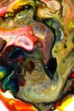 Voedselkleur op melk abstracte achtergrond, marmer als Royalty-vrije Stock Afbeeldingen