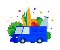 Voedsellevering Verse brood, kruiden, vruchten, groenten, melk en dranken door vrachtwagen vector illustratie
