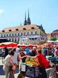 Voedselmarkt, Brno Stock Foto's