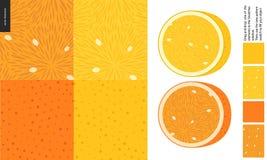 Voedselpatronen, fruit, citroen en sinaasappel stock illustratie