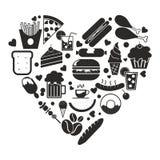Voedselpictogram in de vector van de hartvorm royalty-vrije illustratie